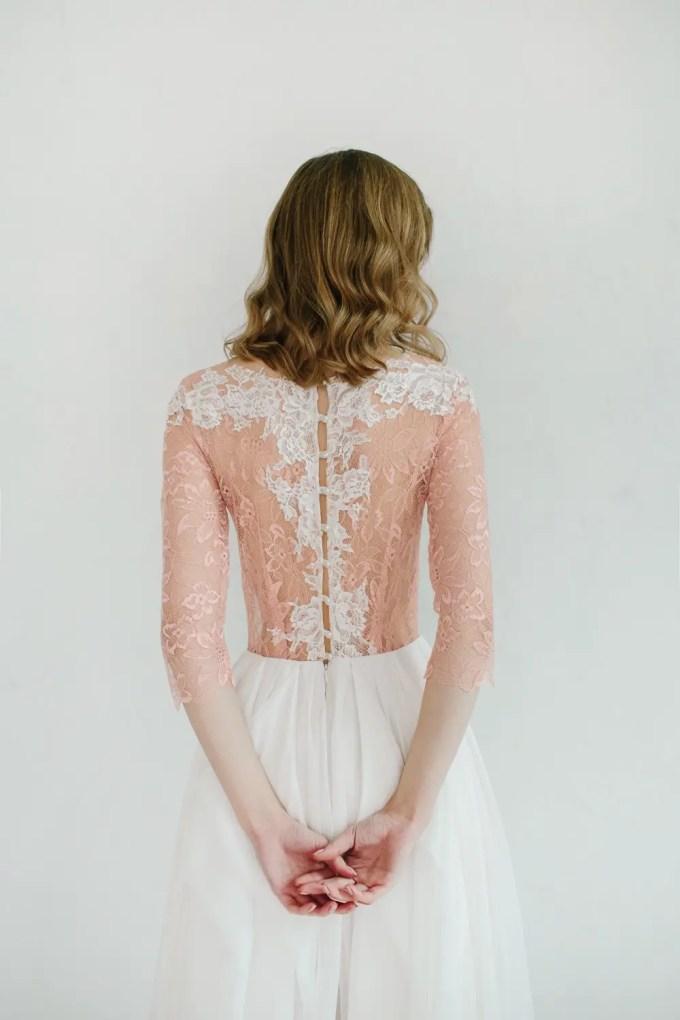 blush wedding dress back