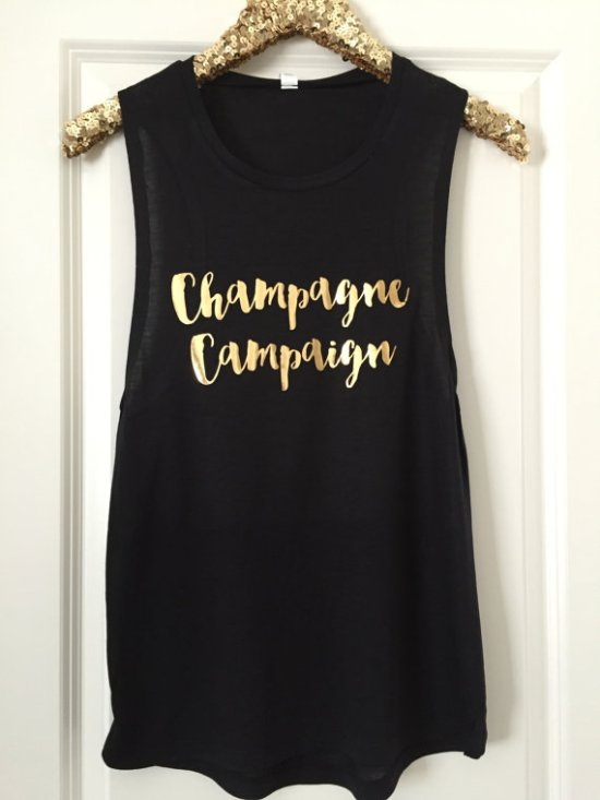 champagne campaign tank by LuxeTees