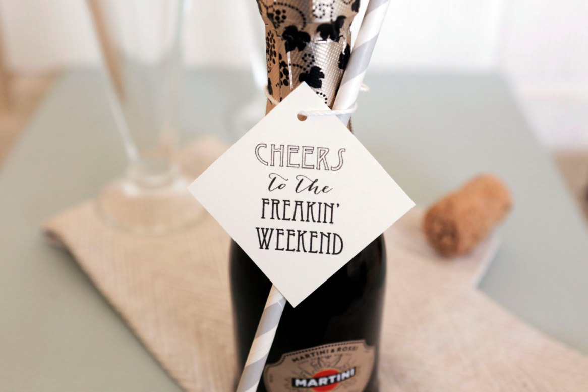 cheers to the freakin weekend champagne bottle tags by BordenSpecifics