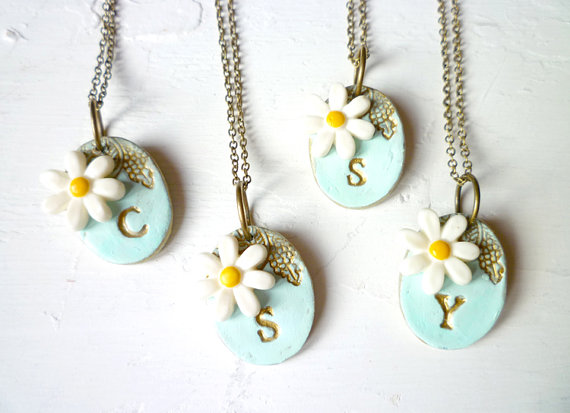 daisy wedding theme initial necklaces for bridesmaids | by Palomaria | bridesmaid necklaces initials | http://emmalinebride.com/gifts/bridesmaid-necklaces-initials