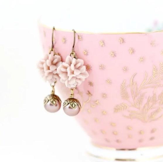 dusty pink flower earrings