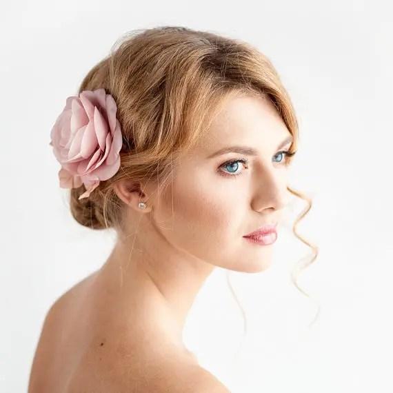 dusty rose hair flower - 1