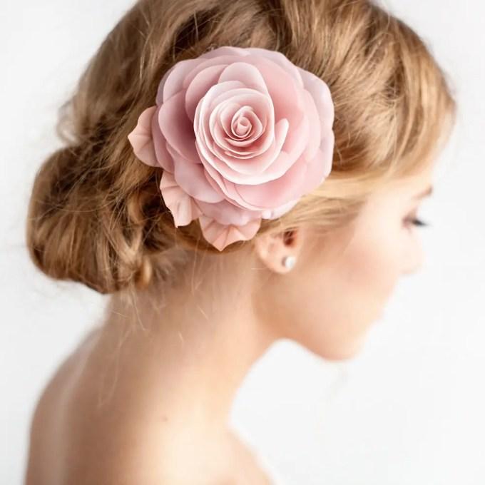 dusty rose hair flower | hairstyles accessories weddings | http://emmalinebride.com/bride/hairstyles-accessories-weddings/ | via florentes: http://etsy.me/22yo1LX