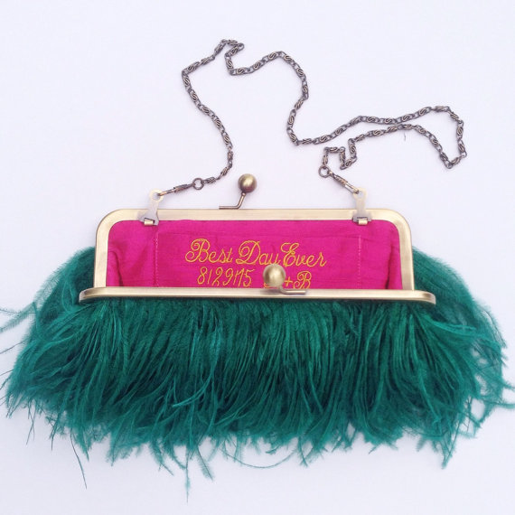 feather-clutch-purses-weddings-emerald-green-best-day-ever-liner