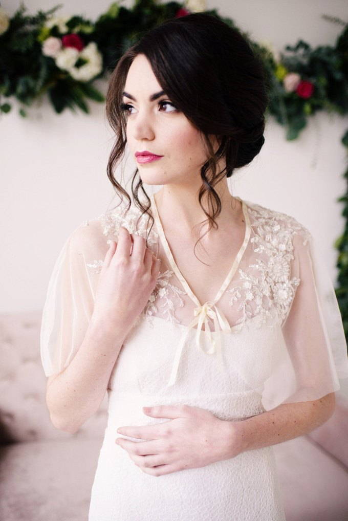floral beaded capelet | bridal cover ups for spring/summer weddings | by tessa kim | photo: deyla huss photography