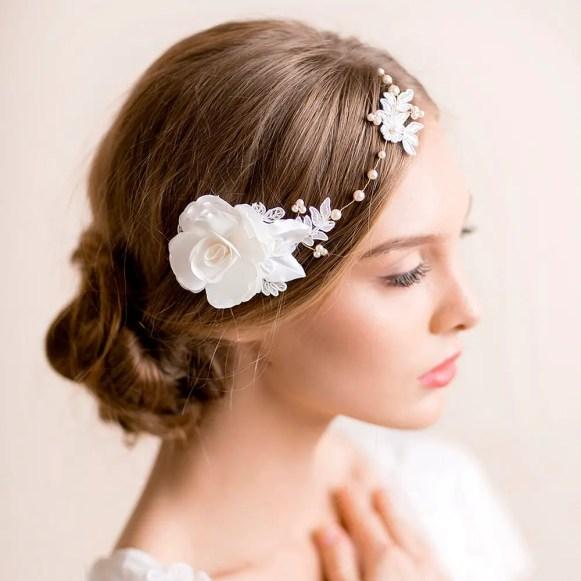 floral bridal headpiece with gardenia