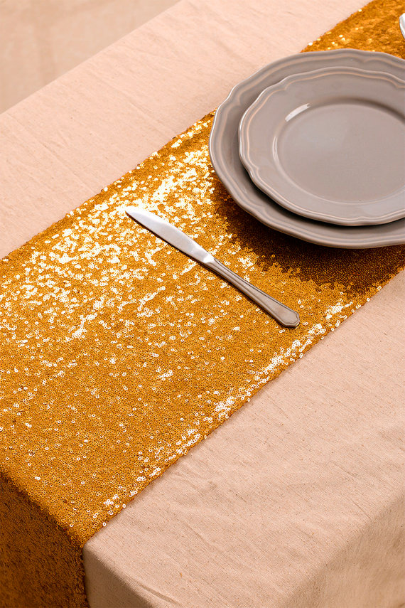 Wedding Tip → Sequin Table Runners for Instant Glam