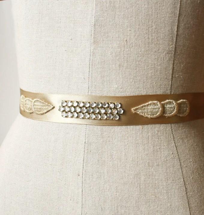 Gold art deco wedding dress sash | by Laura Stark | sashes dress | http://emmalinebride.com/bride/bridal-sashes-dress