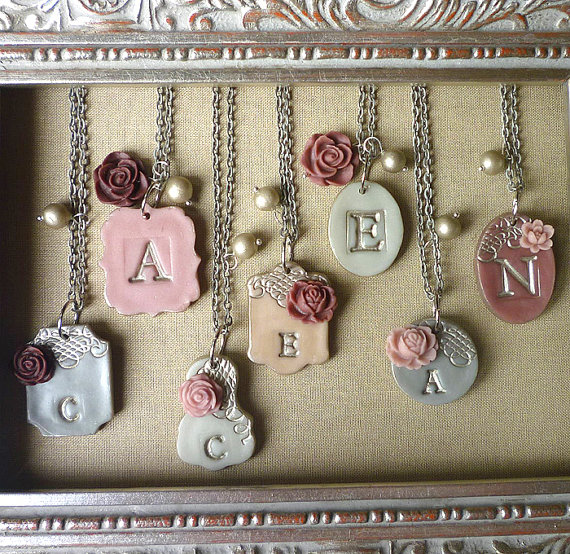 grey silver and mauve initial necklaces for bridesmaids | by Palomaria | bridesmaid necklaces initials | http://emmalinebride.com/gifts/bridesmaid-necklaces-initials