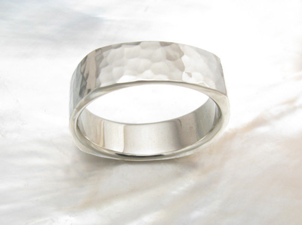 hammered square wedding band