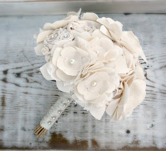 ivory fabric bouquet