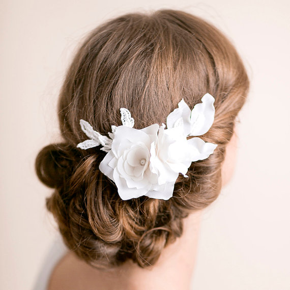 lily magnolia flower hair comb - 1