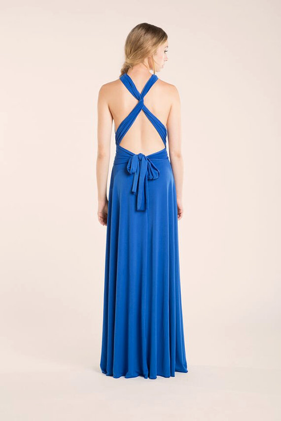 long royal blue infinity convertible bridesmaid dress