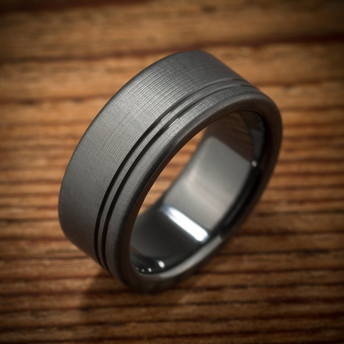 mens wedding band black zirconium ring