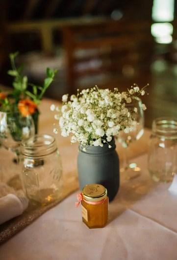 mini jam jar at wedding