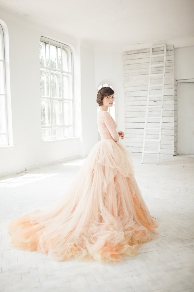 nude tulle wedding skirt