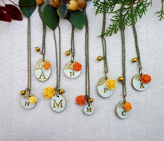 orange and yellow initial necklaces for bridesmaids | by Palomaria | bridesmaid necklaces initials | http://emmalinebride.com/gifts/bridesmaid-necklaces-initials