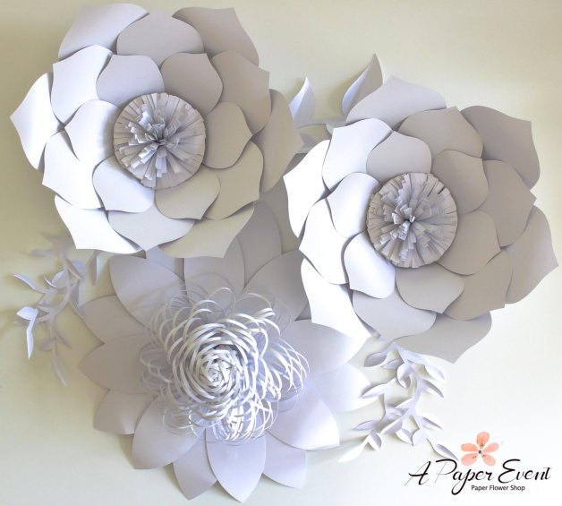 paper flower backdrop in white