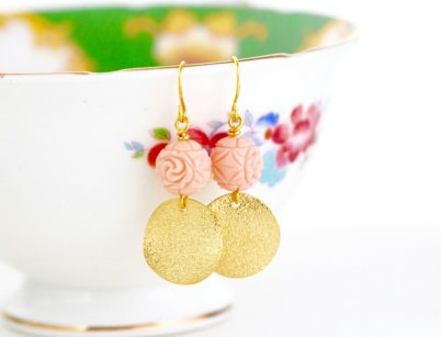 pink and gold flower earrings