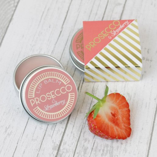 prosecco lip balm favors by HearthandHeritage