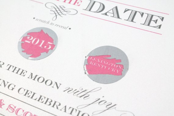 scratch off save the dates | by diva gone domestic | http://emmalinebride.com/invites/scratch-off-save-the-dates/