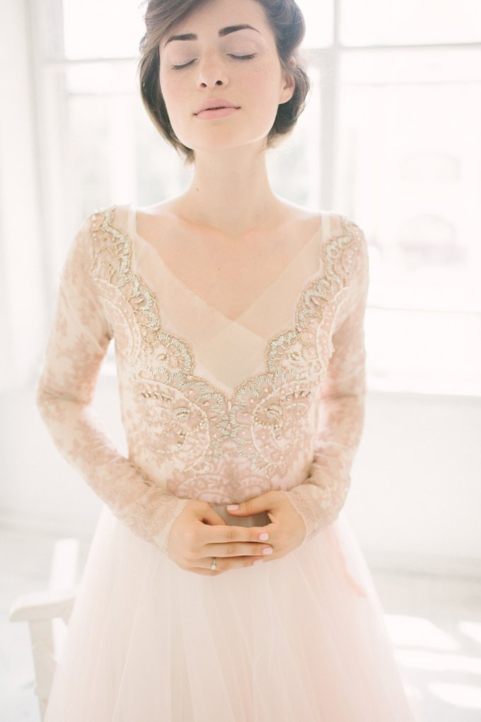soft bronze wedding dress