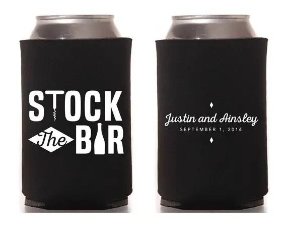 stock the bar koozies in black