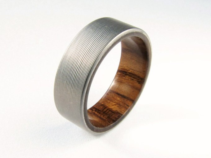 titanium and teak wedding ring