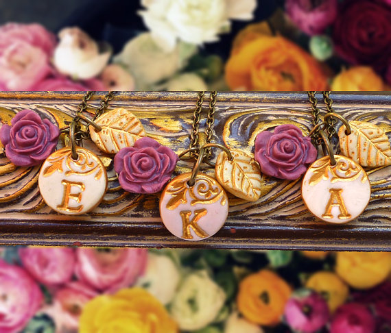 wine fall wedding necklaces | by Palomaria | bridesmaid necklaces initials | http://emmalinebride.com/gifts/bridesmaid-necklaces-initials