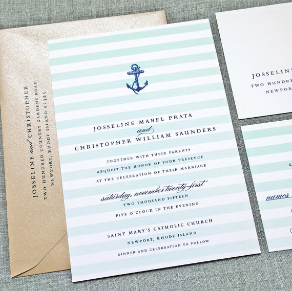 anchor stripe wedding invitations