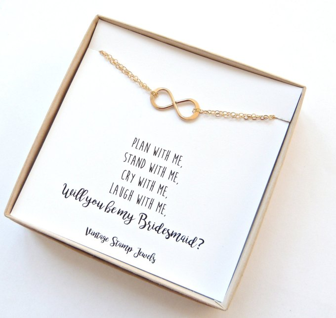 be my bridesmaid infinity bracelet | be my bridesmaid jewelry | http://emmalinebride.com/wedding/be-my-bridesmaid-jewelry/