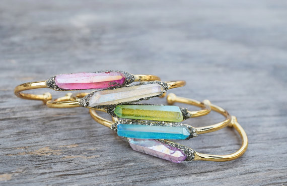 Raw Crystal Bangle Bracelets — Handmade-a-Day