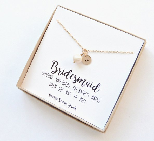 bridesmaid jewelry pearl and initial bracelet