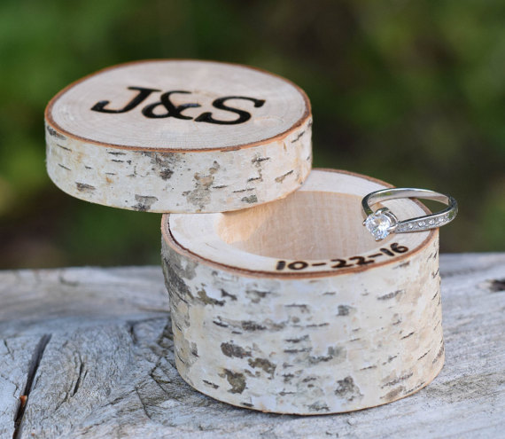 carved birch wedding ring box by birchworks | 41 Beautiful Rustic Ring Pillows Etsy | http://emmalinebride.com/rustic/ring-pillows-etsy-weddings/