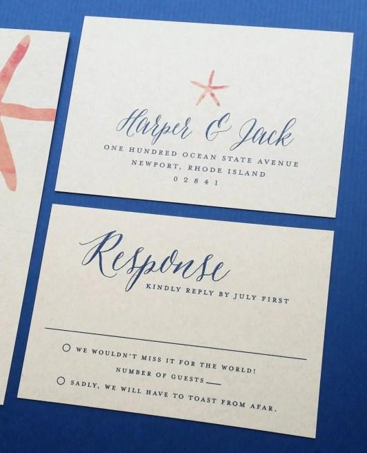coral starfish wedding invitations on kraft paper - rsvp