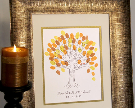 fall colors thumbprint tree guest book