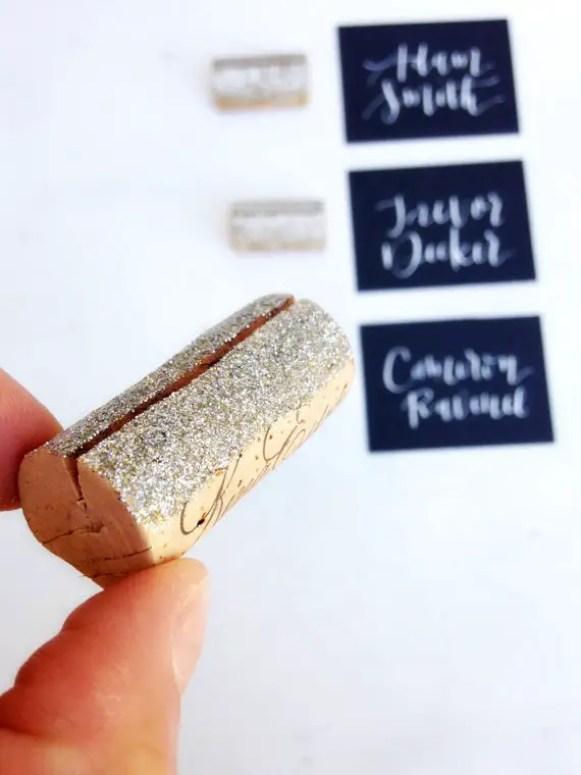 glitter cork place card holders