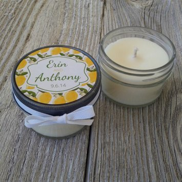 lemon wedding candle favors