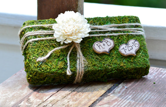moss ring bearer pillow by pinensign | 41 Beautiful Rustic Ring Pillows on Etsy | http://emmalinebride.com/rustic/ring-pillows-etsy-weddings/