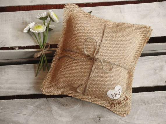 natural burlap ring pillow by theartsyhippie | 41 Beautiful Rustic Ring Pillows on Etsy | http://emmalinebride.com/rustic/ring-pillows-etsy-weddings/