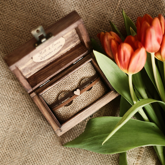 personalized ring box by collectivemade | 41 Beautiful Rustic Ring Pillows Etsy | http://emmalinebride.com/rustic/ring-pillows-etsy-weddings/