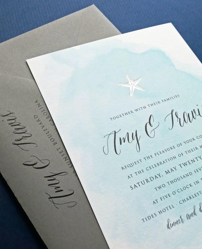 beach wedding invitations by cricket printing | http://emmalinebride.com/beach/beach-wedding-invitations/