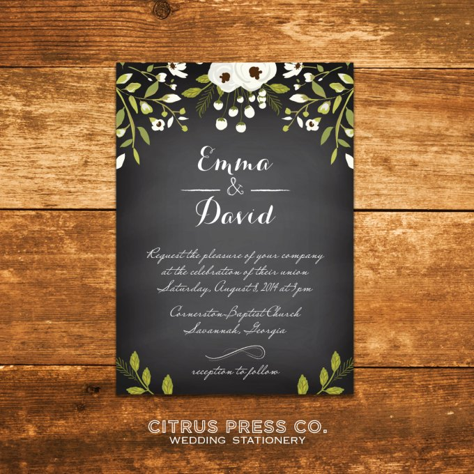 Chalkboard Invitations for Weddings | By Citrus Press Co. | http://emmalinebride.com/wedding/chalkboard-ceremony-program/ 