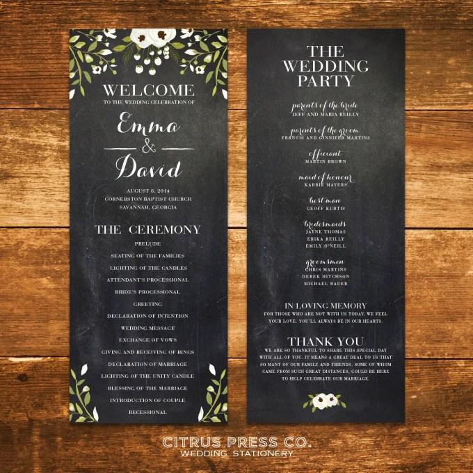 Chalkboard Ceremony Program for Weddings | By Citrus Press Co. | http://emmalinebride.com/wedding/chalkboard-ceremony-program/ 