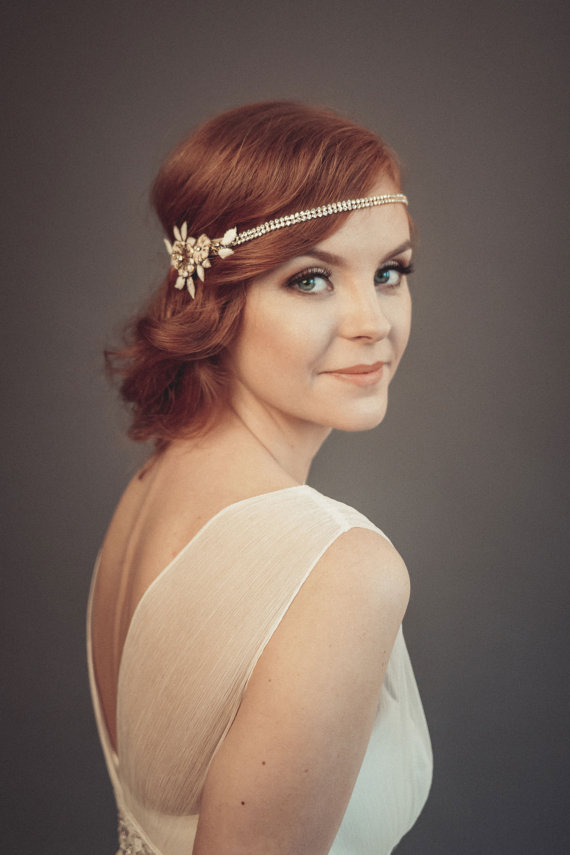 gatsby inspired headband | 50+ Best Bridal Hairstyles Without Veil | http://emmalinebride.com/bride/best-bridal-hairstyles