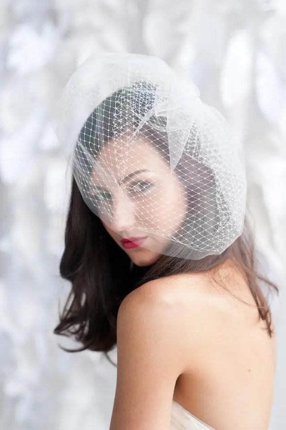 glamorous double layered birdcage veil 2