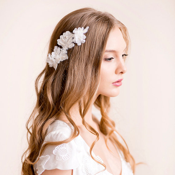 hair down with pin | 50+ Best Bridal Hairstyles Without Veil | http://emmalinebride.com/bride/best-bridal-hairstyles