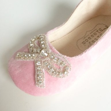 pink flower girl shoe with bow