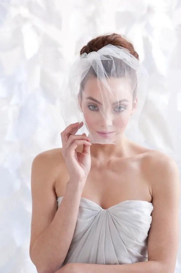 tulle birdcage wedding veil view three