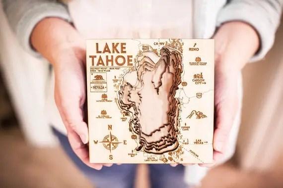 3d wood map of lake tahoe by OriginArtwork
